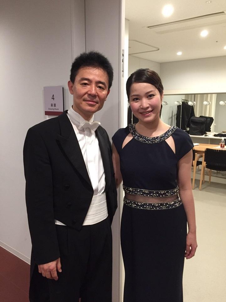 ローム ミュージックフェスティバル2016 4月24日共演のヴァイオリニスト、神尾 真由子さんと。